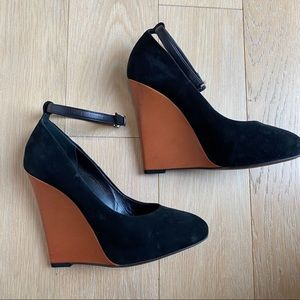 Celine suede and leather ankle strap wedge heels